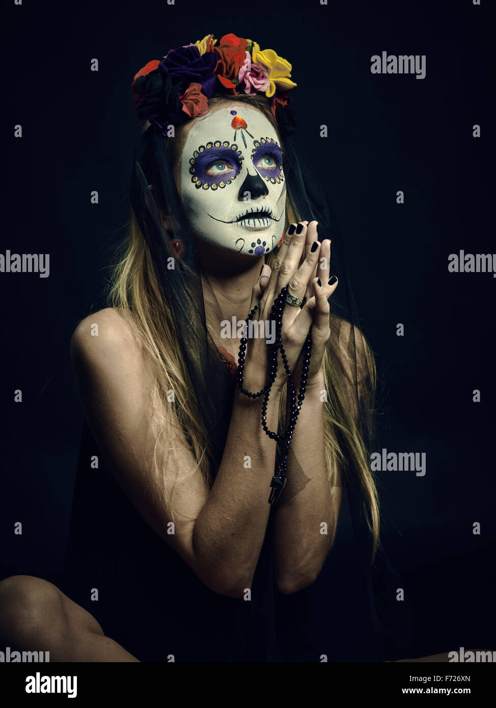 La Muerte. Classic Mexican Day of the Death makeup - Stock Image