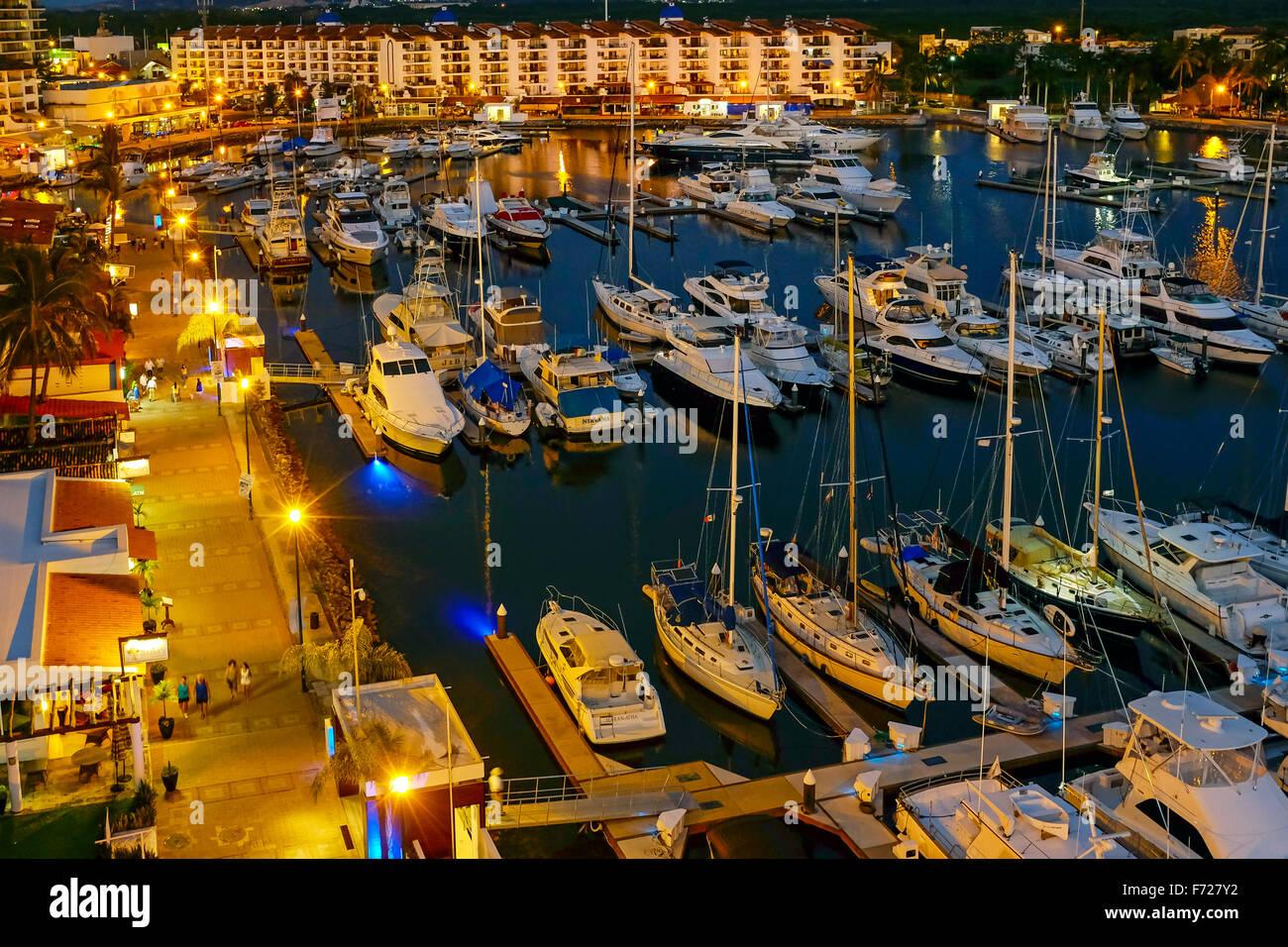 Evening at the marina at Vallarta Marina, Puerto Vallarta, Mexico - Stock Image