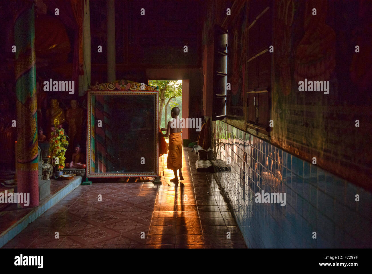 A young monk in late afternoon light at Kampong Phluk, Siem Reap, Cambodia - Stock Image
