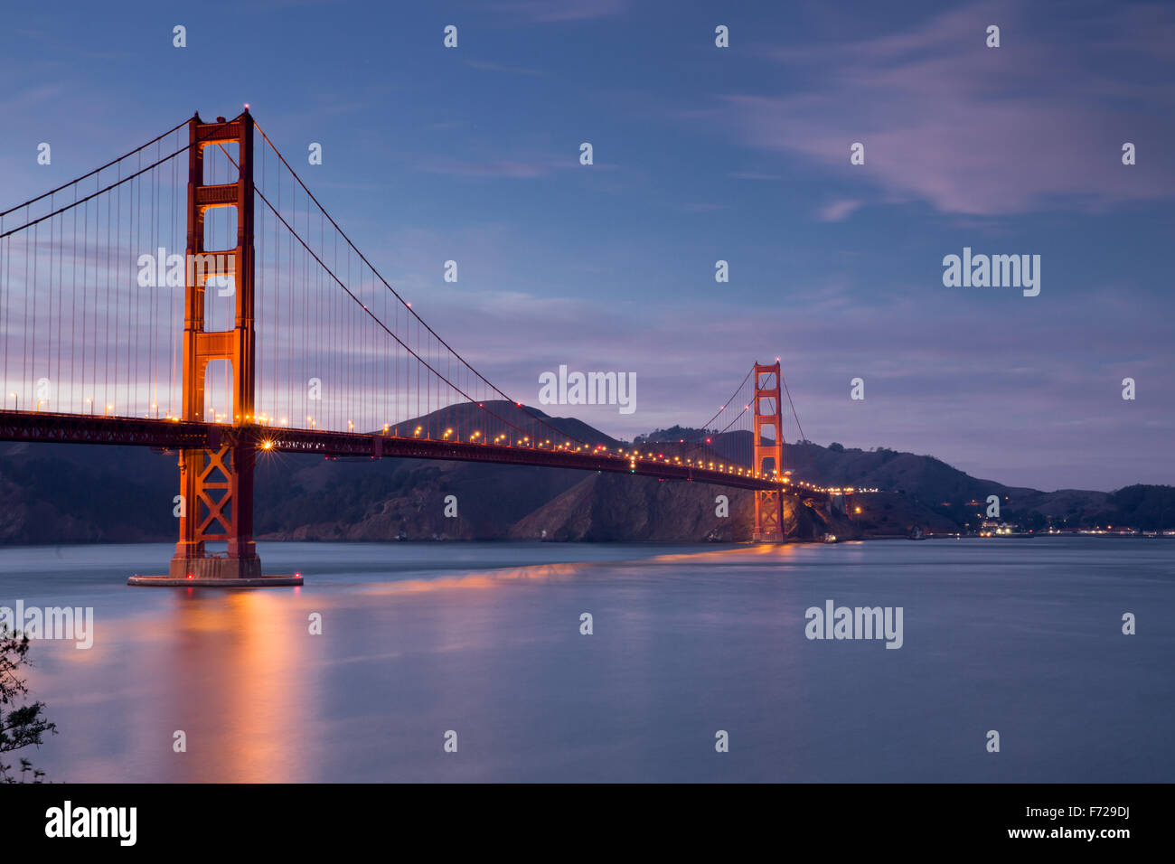 Golden-Gate Bridge at Dusk, San Francisco, California - Stock Image