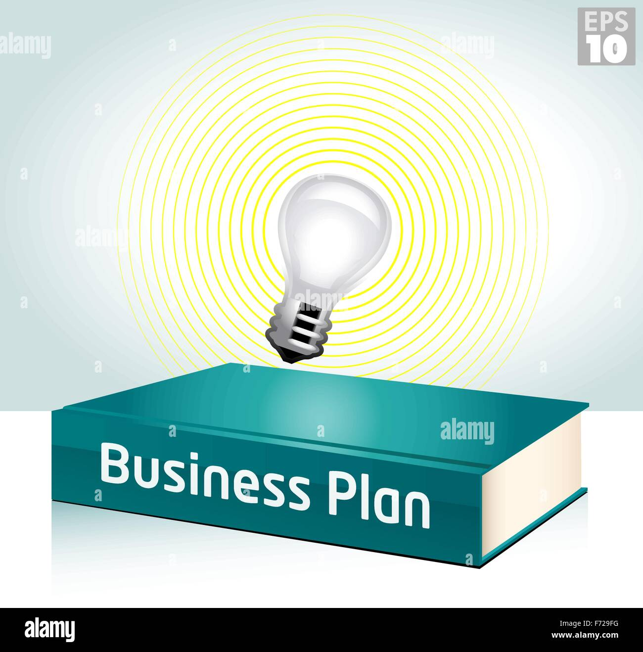 Entrepreneurial business idea using a light bulb to illuminate a business plan hardcover book - Stock Vector