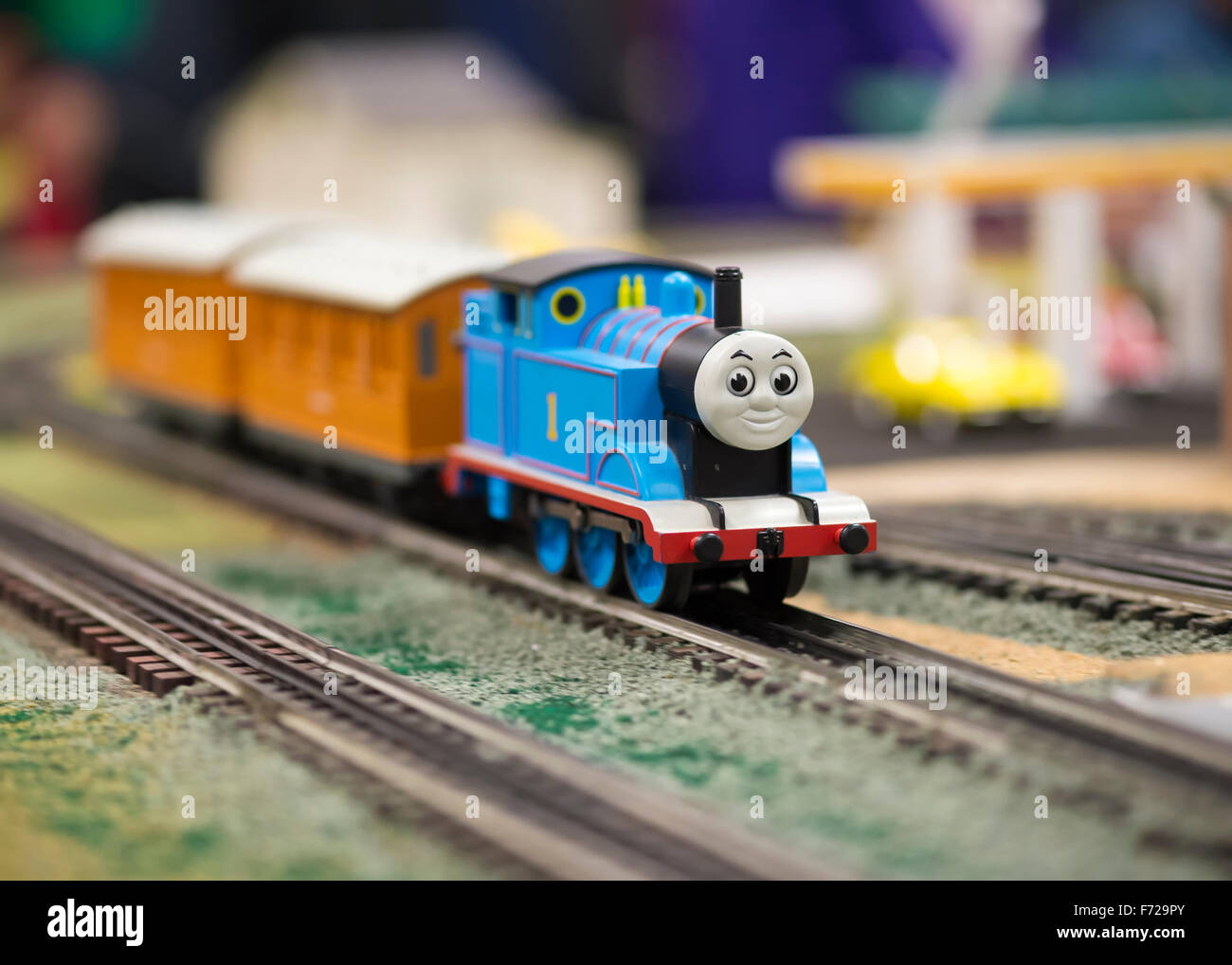 Bethpage, New York, USA. 22nd November 2015. Thomas the Train, a popular children's character, is operating - Stock Image