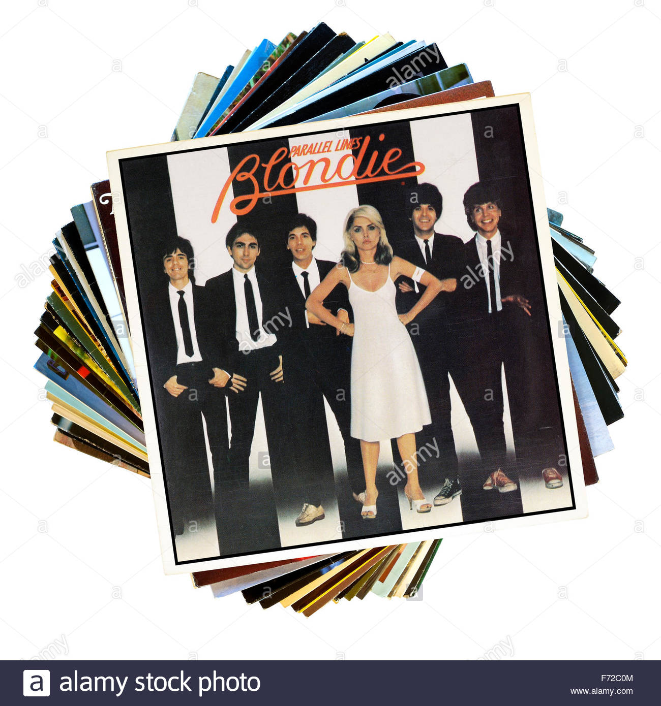 Blondie 1978 album Parallel Lines, stack of LP records, England Stock Photo