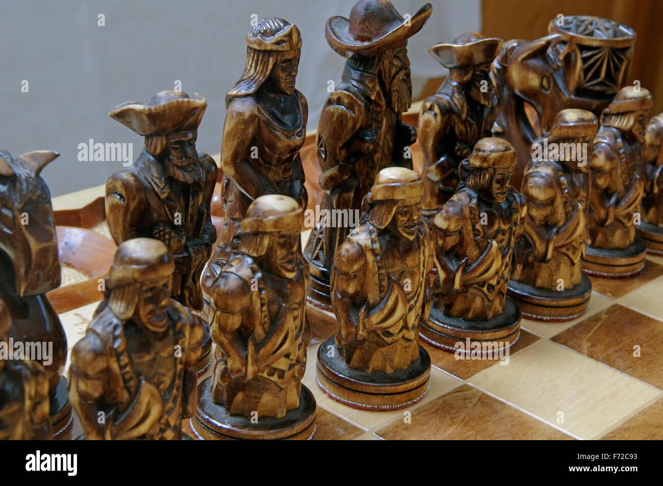8cc81b74fb8d wood chess figures handmade stay on board Stock Photo  90407999 - Alamy