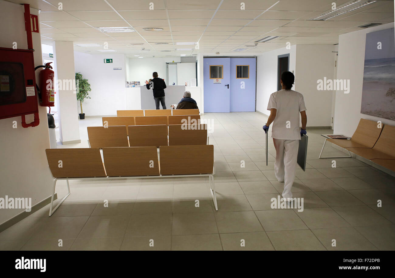 Reception area on a local district hospital in the island of Mallorca - Stock Image