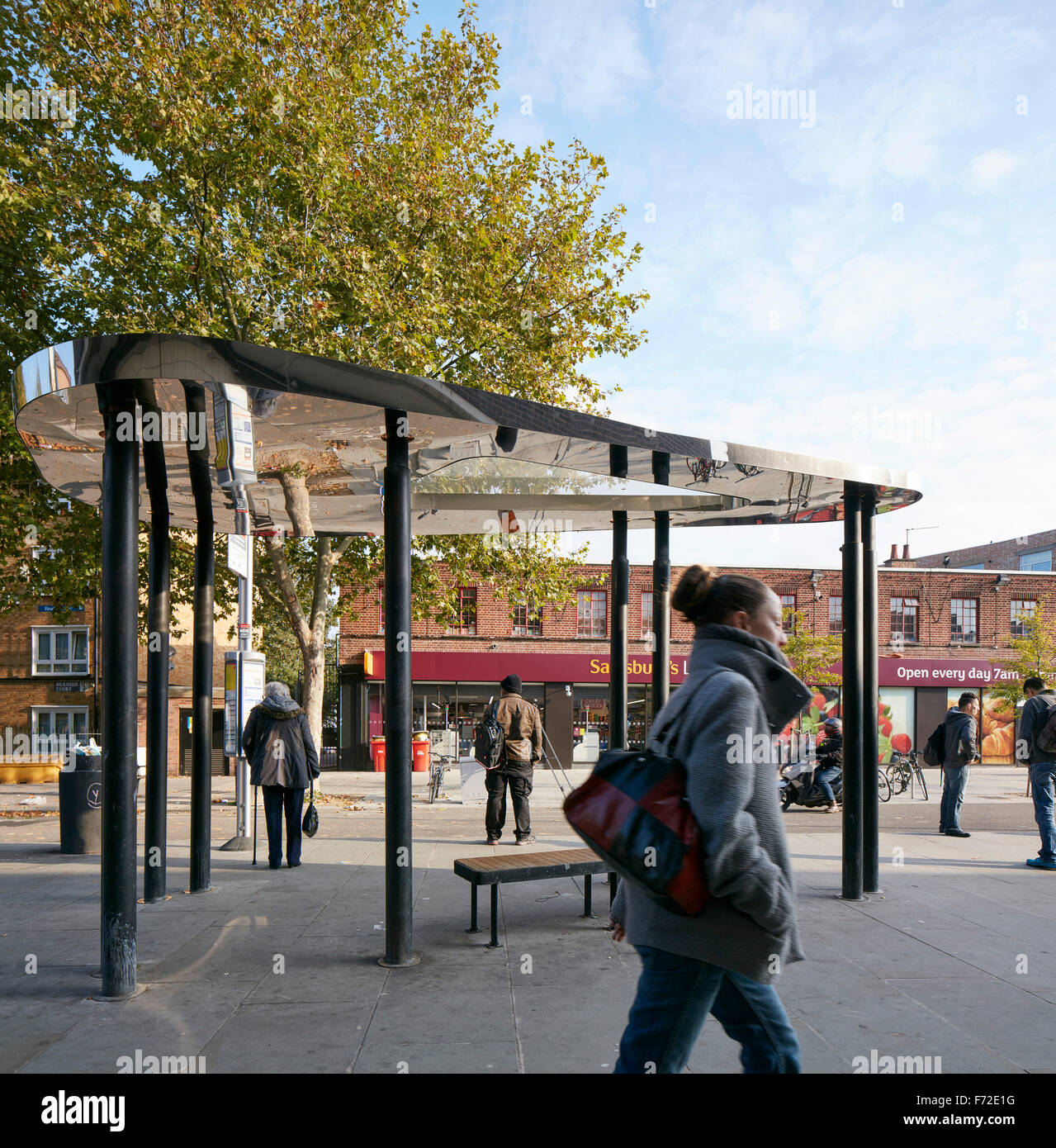 Bus shelter within its context. Binfield Road Bus Shelter, Stockwell Framework Masterplan, London, United Kingdom. - Stock Image