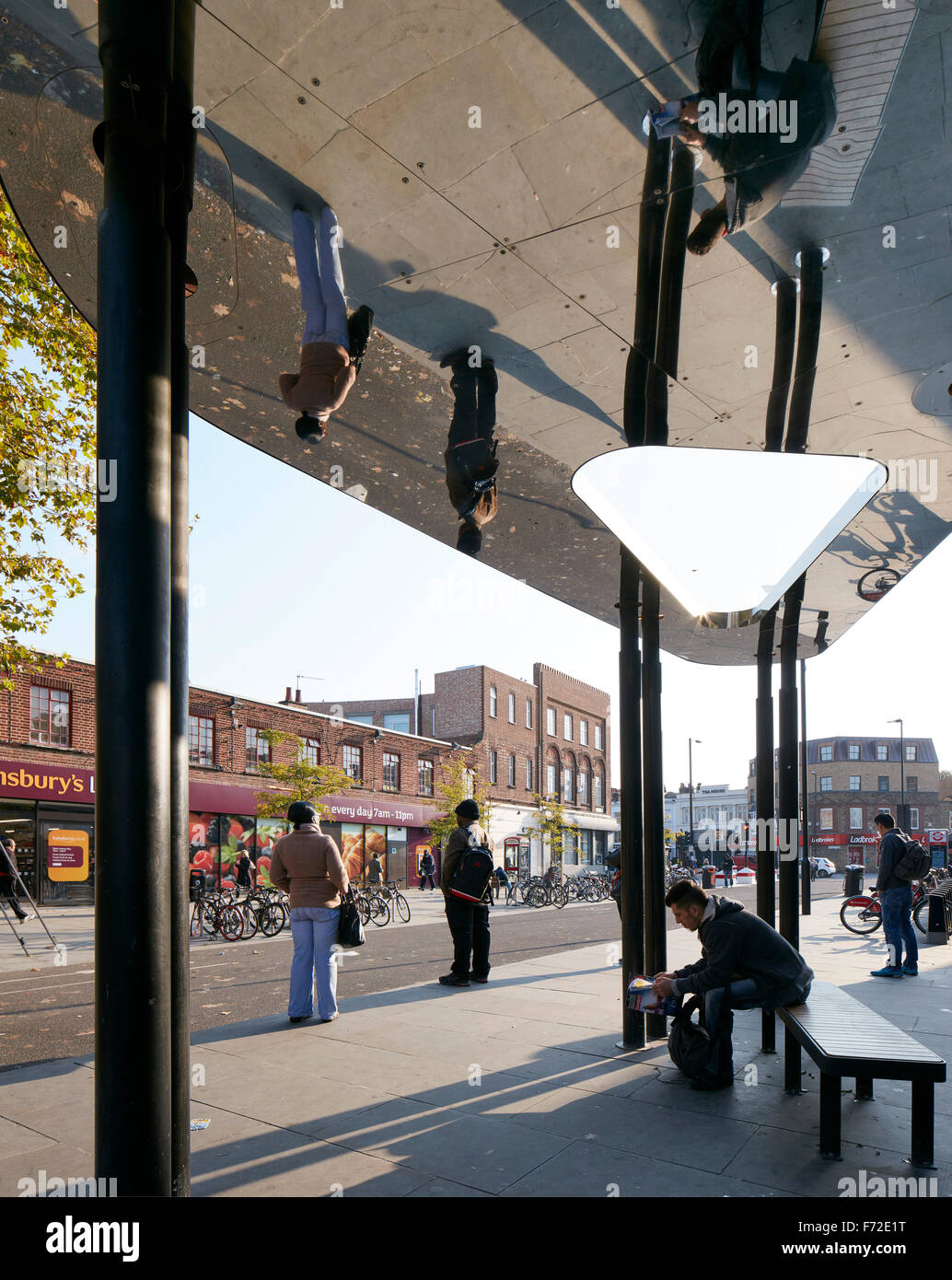 Bus shelter with reflective soffit. Binfield Road Bus Shelter, Stockwell Framework Masterplan, London, United Kingdom. - Stock Image