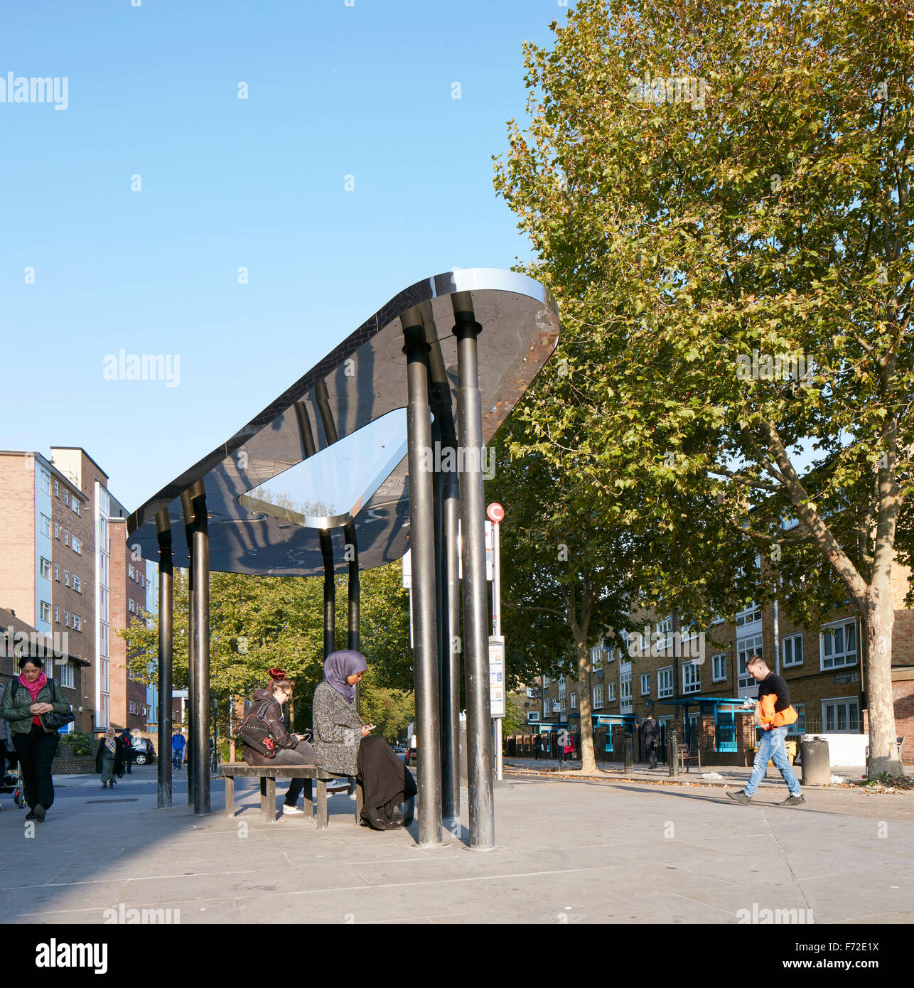 Pedestrianised area of Binfield Road with bus shelter. Binfield Road Bus Shelter, Stockwell Framework Masterplan, - Stock Image