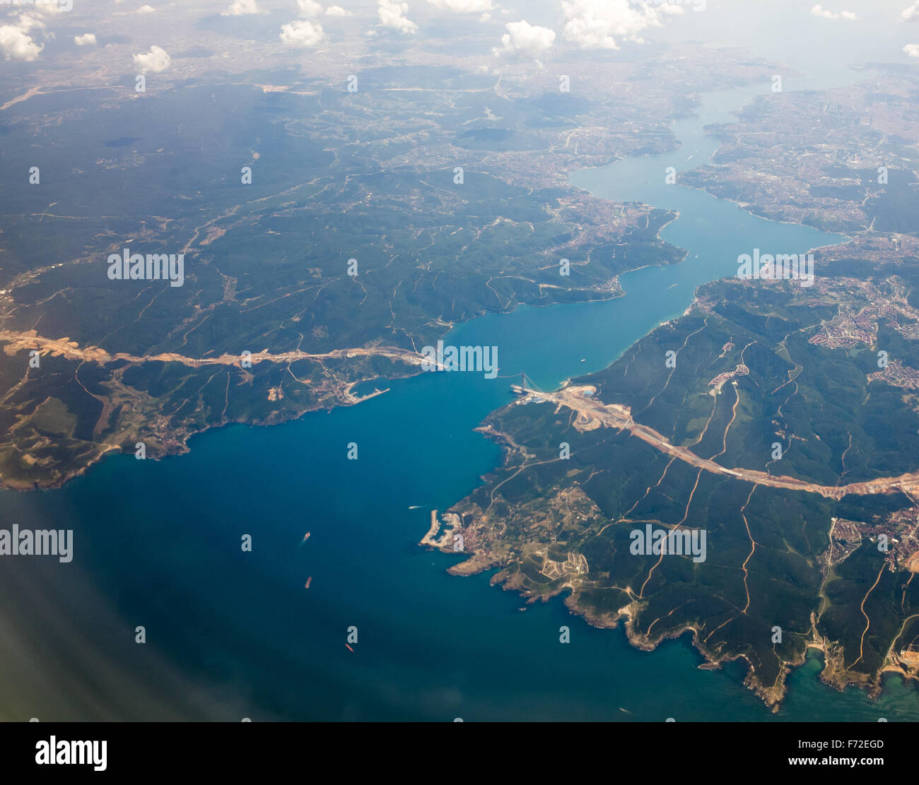 An aerial view of Yavuz Sultan Selim Bridge under construction on the Bosphorus in Istanbul Turkey Stock Photo