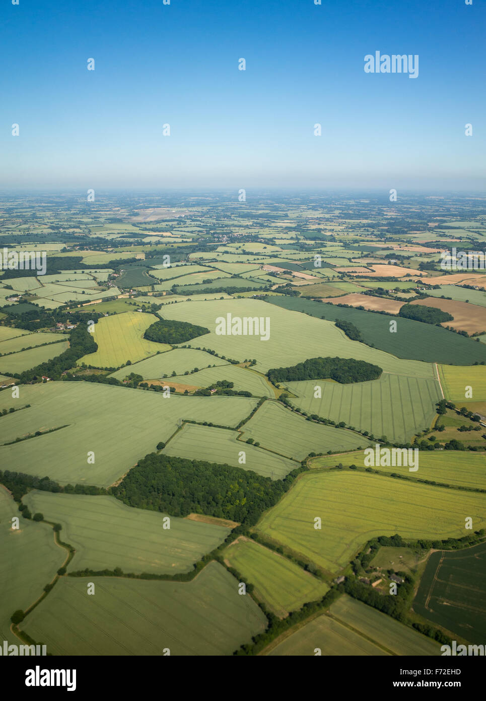 Aerial view over the English countryside in summer Stock Photo