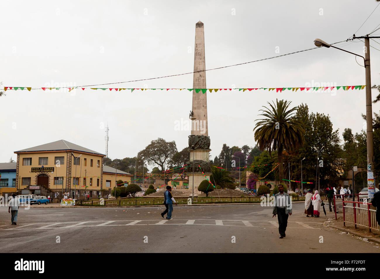 Yekatit 12 martyrs square sidist kilo, addis ababa, ethiopia, africa - Stock Image