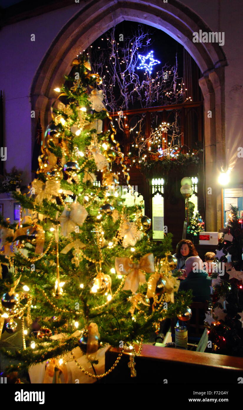 A Christmas Tres Festival inside St Edmund's Church in the centre of Castleton, a village in Derbyshire's Peak District, Stock Photo