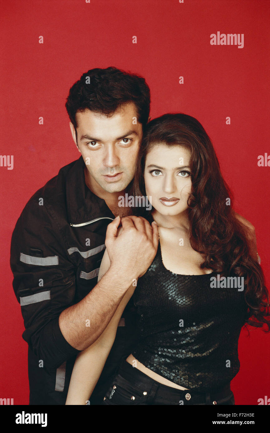 Indian film actor and actress, bobby deol and ameesha patel, india, asia, 2000 - Stock Image