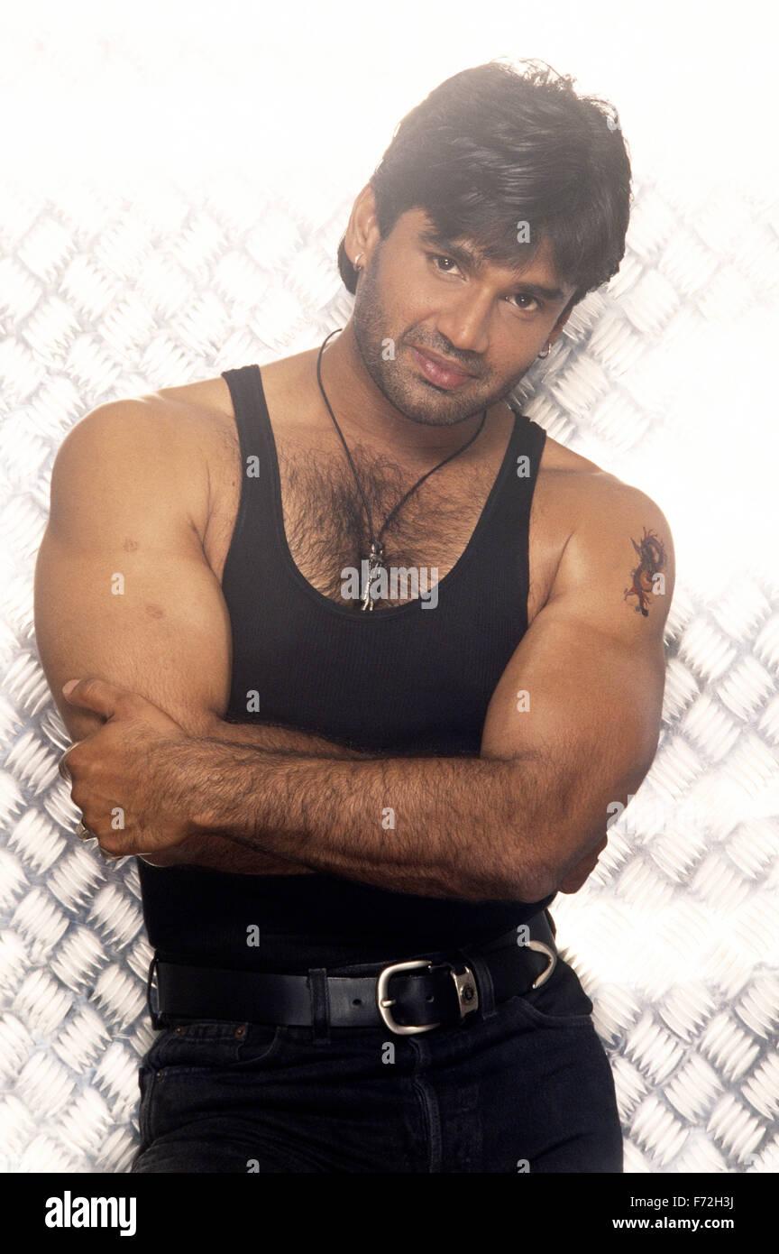 indian film actor sunil shetty india asia 1993 stock photo