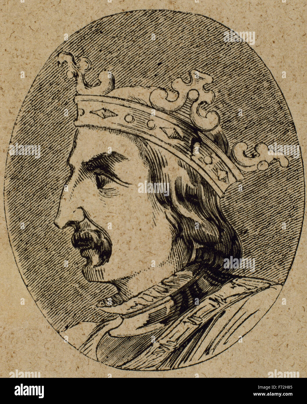 Sancho IV of Castile (1258-1295). King of Castille, Leon and Galicia from 1284-1295. Portrait. Engraving. - Stock Image