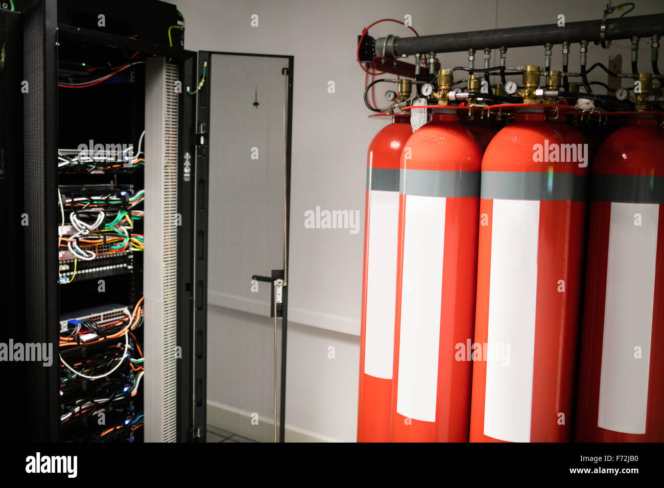 Fire extinguishers in server room - Stock Image