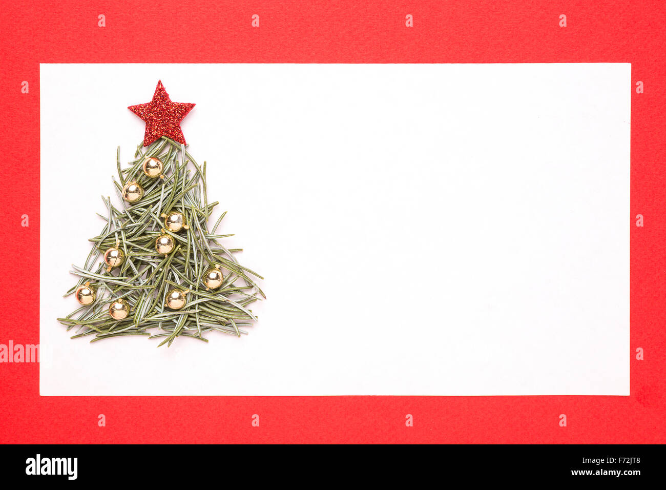 blank christmas card or invitation with christmas tree made from