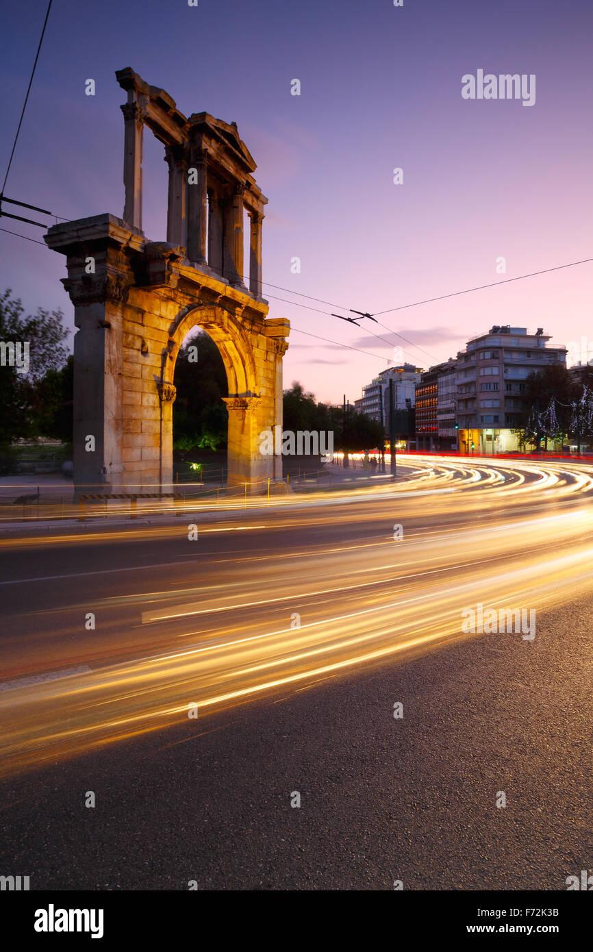 Arch of Hadrian and Leoforos Vasilisis Amalias street in Athens. - Stock Image