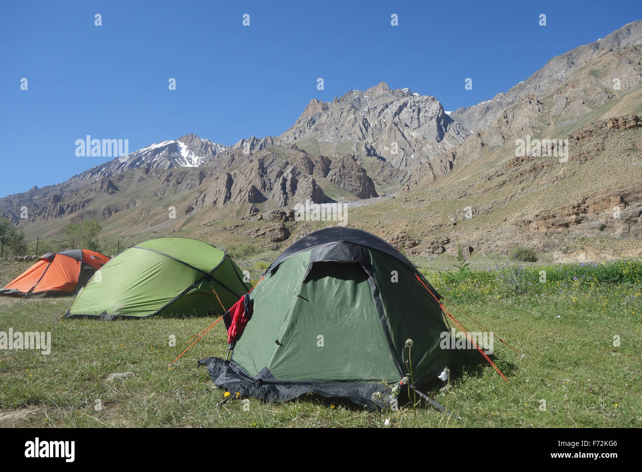 camping in the remote Spiti Valley, Himachal Pradesh, Himalayas - Stock Image
