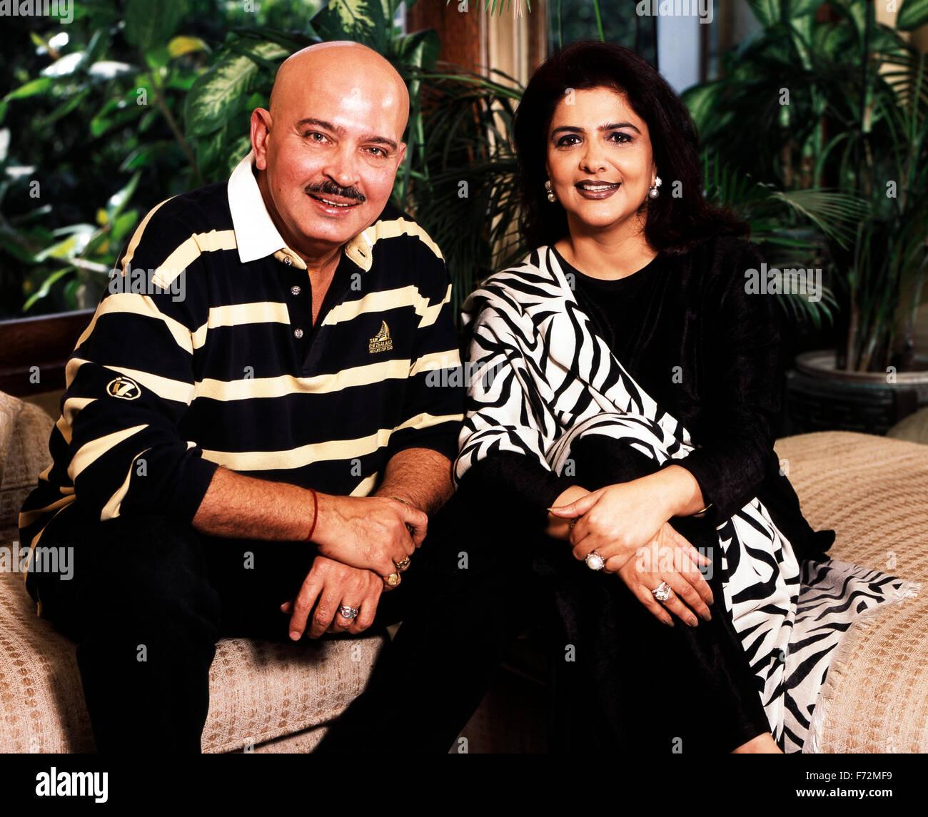 Indian film director, rakesh roshan with wife pinky roshan, india, asia, 2002 - Stock Image