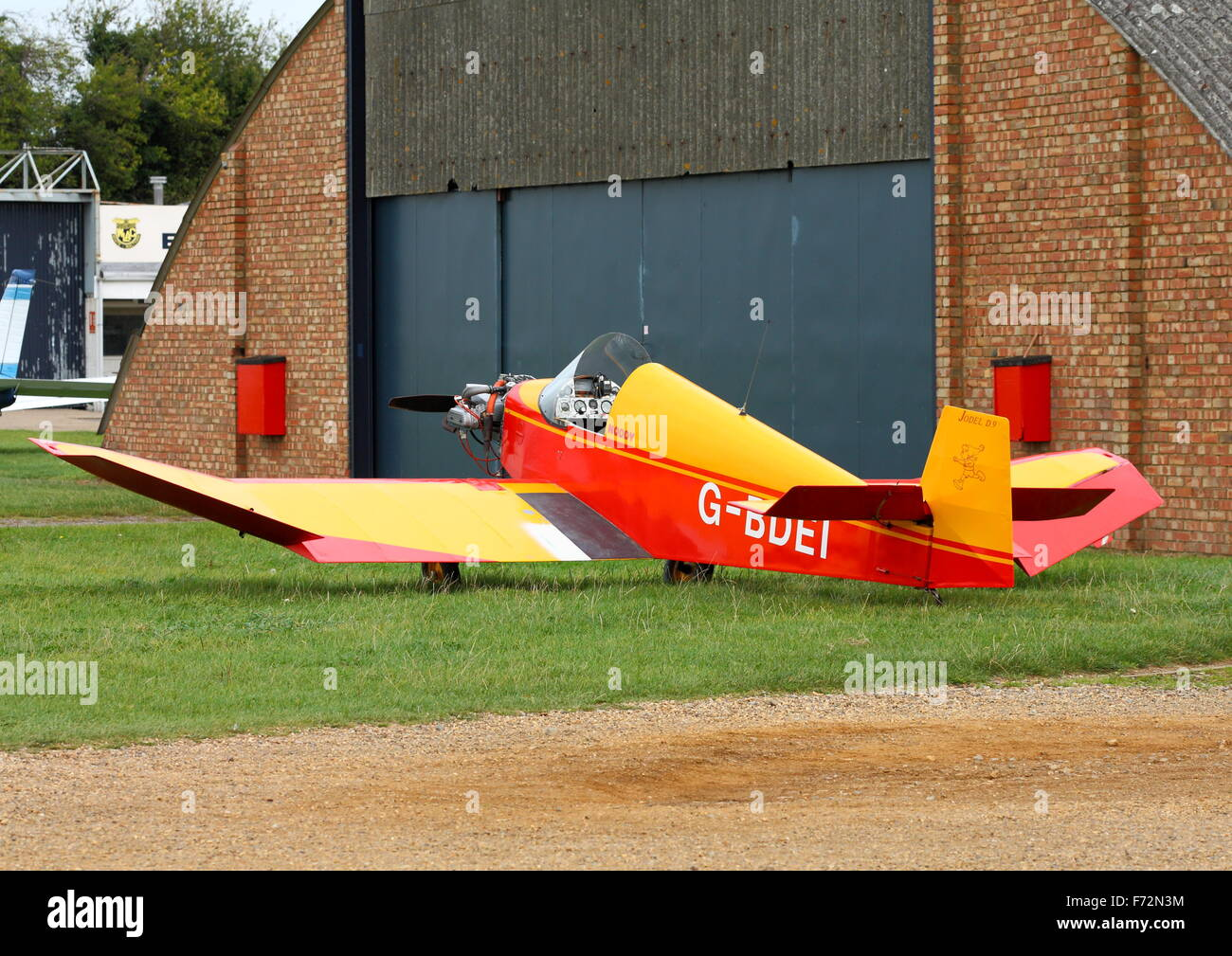 Jodel D.9 Bebe at White Waltham Airfield EGLM) parked outside a hangar Stock Photo