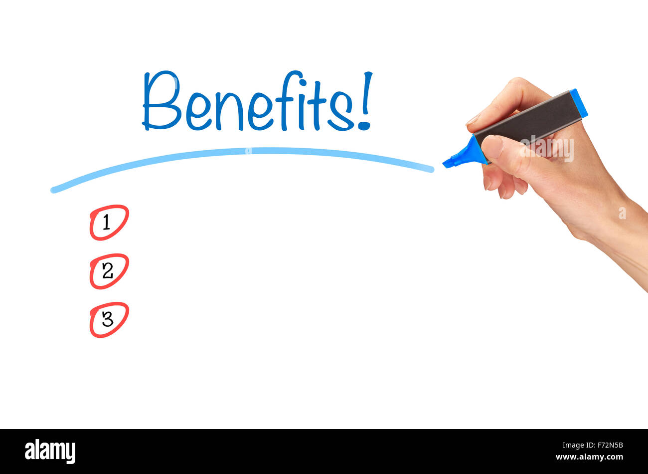 Benefits, written in marker on a clear screen. - Stock Image
