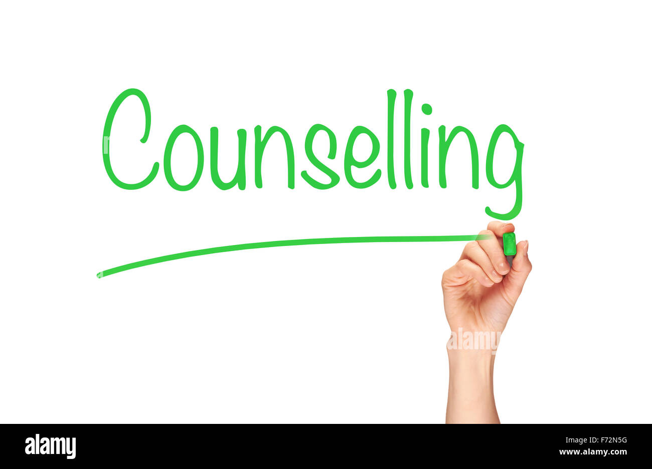 Counselling, written in marker on a clear screen. - Stock Image