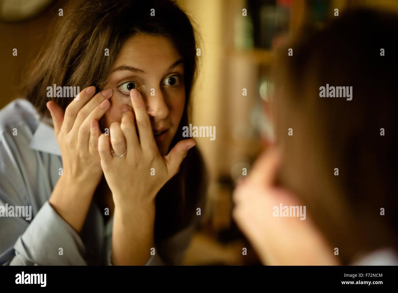 Contact Lens Woman Mirror Stock Photos Contact Lens Woman Mirror