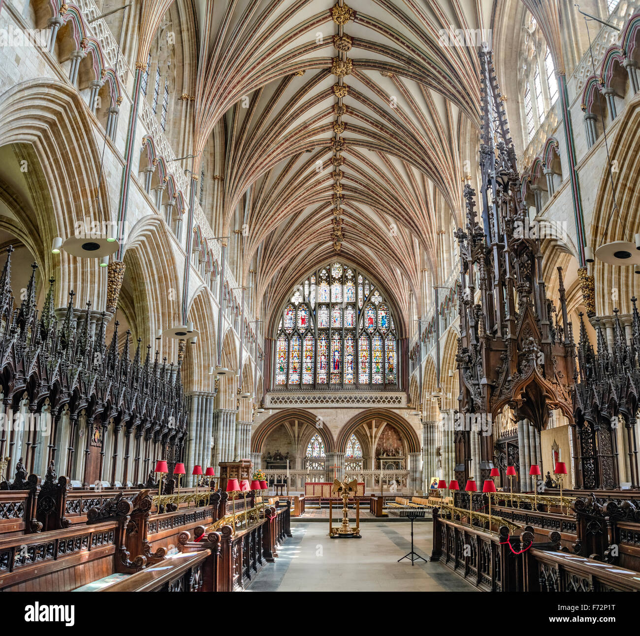 Interior of Exeter Cathedral, Devon, England, UK - Stock Image