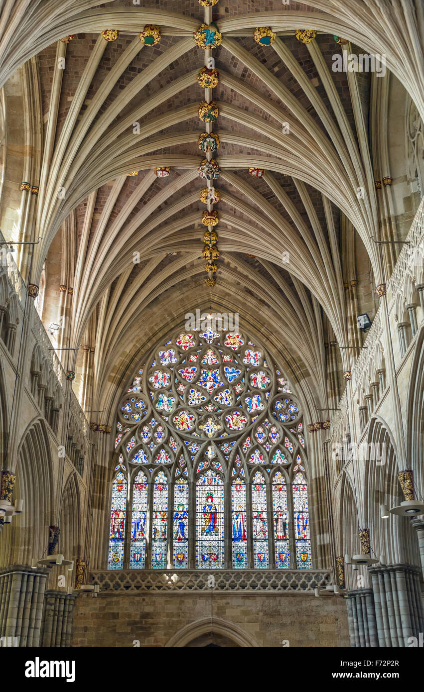Interior of Exeter Cathedral, Devon, England, UK Stock Photo