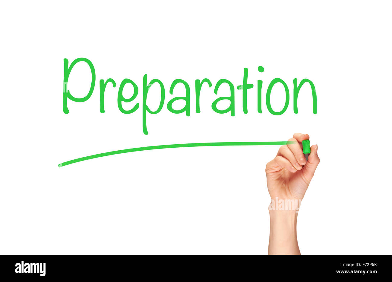 Preparation, written in marker on a clear screen. - Stock Image