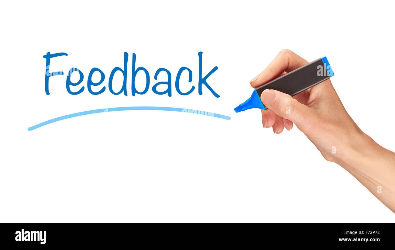 Feedback, written in marker on a clear screen. - Stock Image