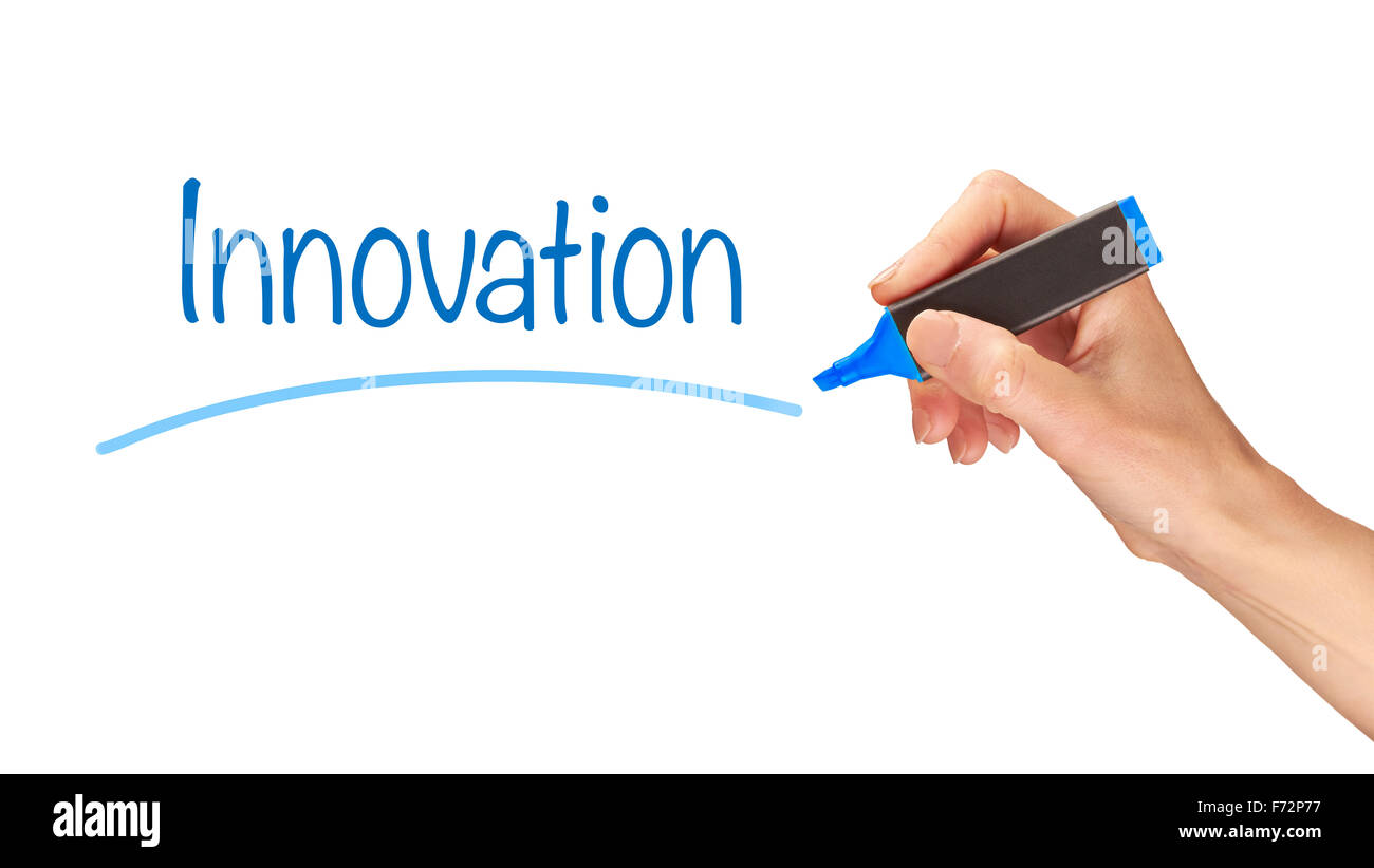 Innovation, written in marker on a clear screen. - Stock Image