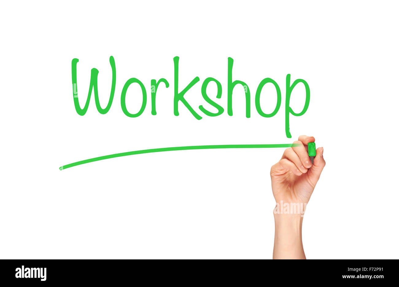 Workshop, written in marker on a clear screen. - Stock Image