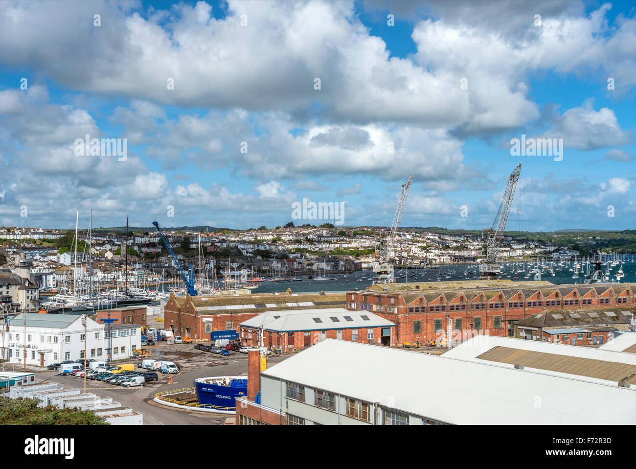 Elevated view over Falmouth Docks Area, Cornwall, England, UK - Stock Image