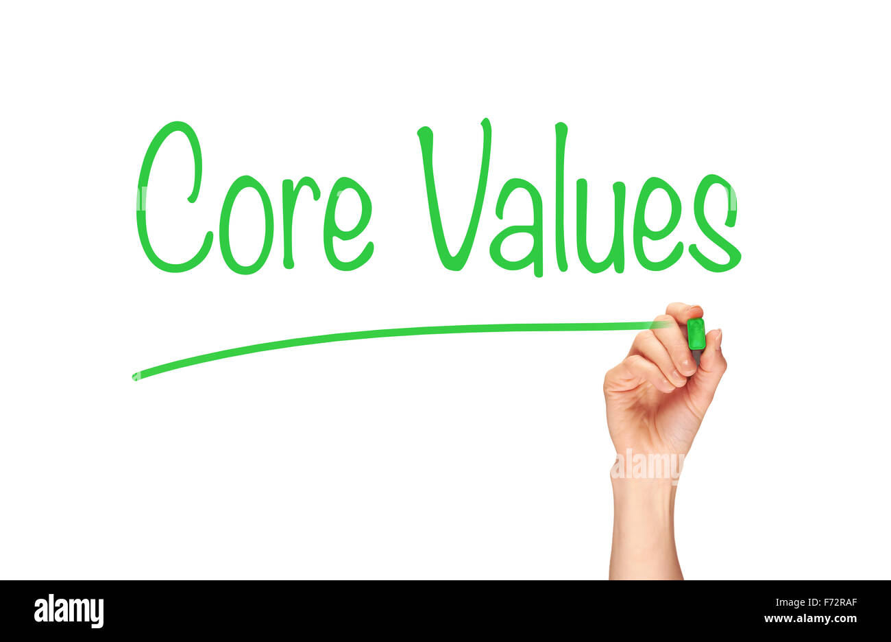 A woman's hand writing the word, Core Values, on a clear screen. - Stock Image