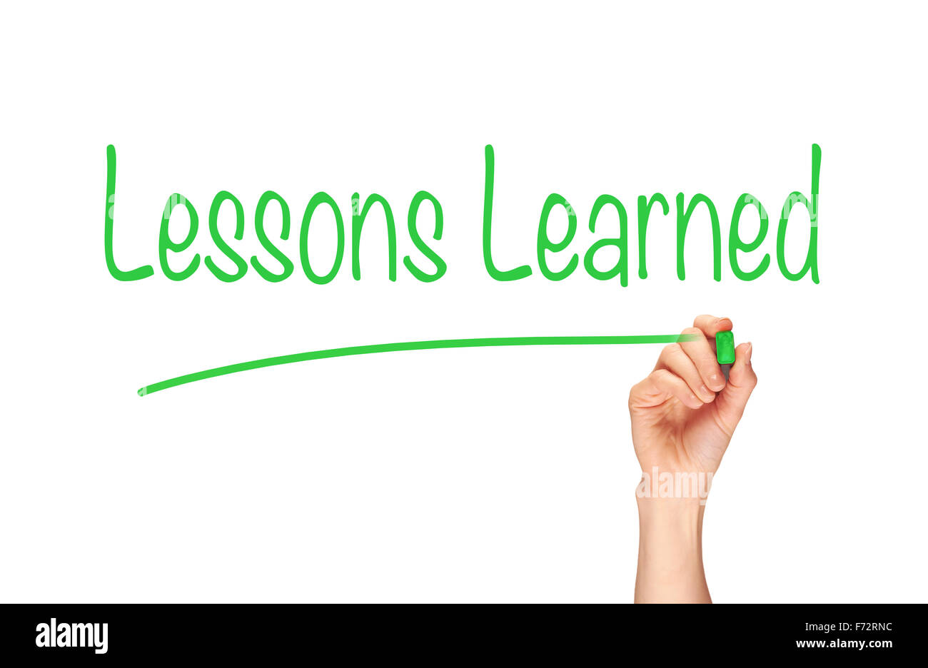 A woman's hand writing the word, Lessons Learned, on a clear screen. - Stock Image