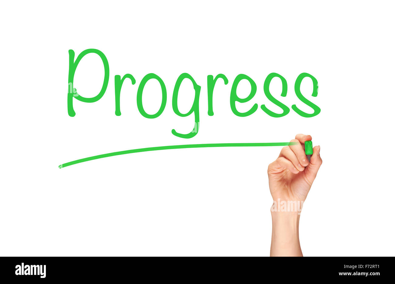 A woman's hand writing the word, Progress, on a clear screen. - Stock Image