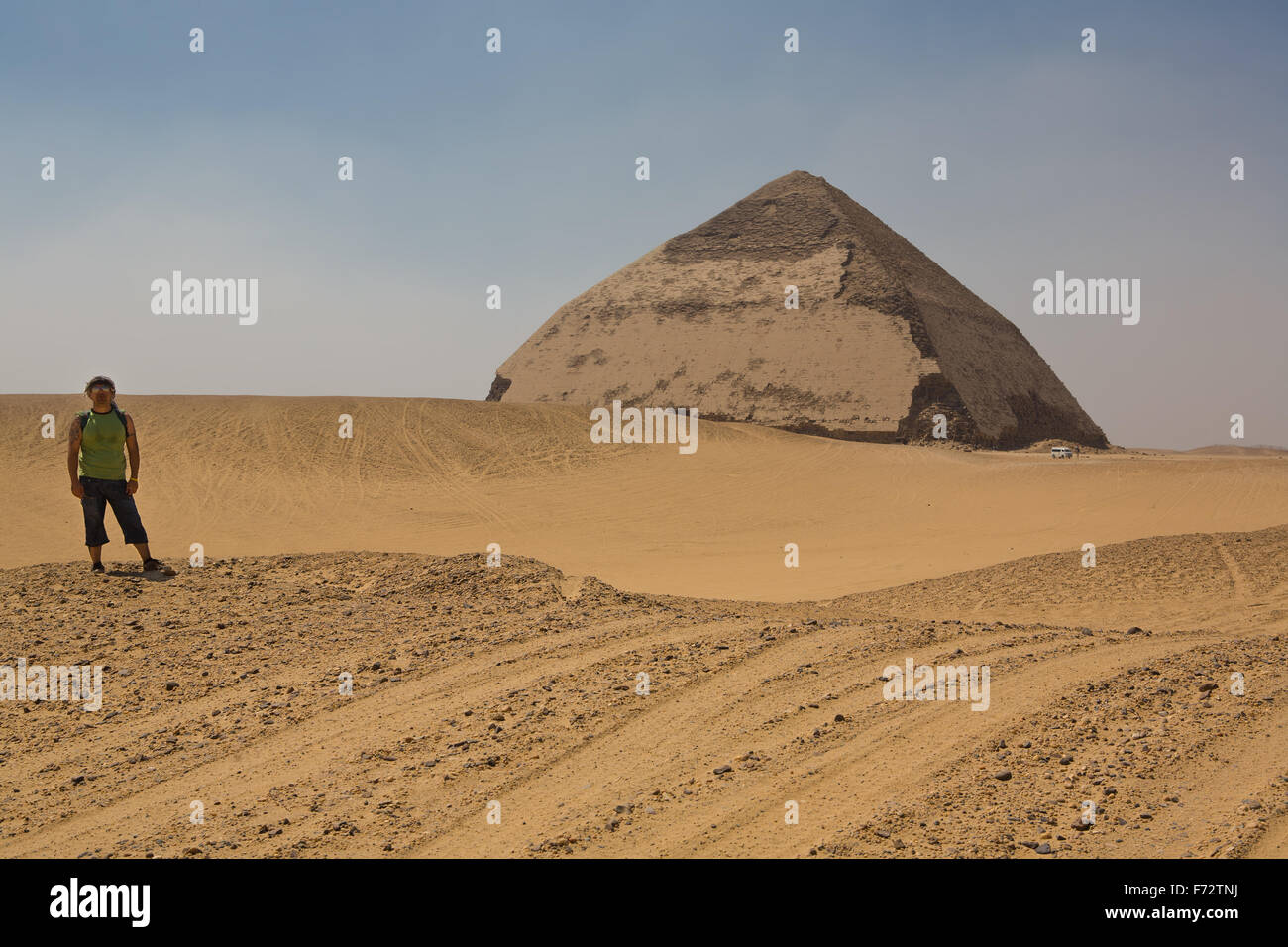 Tourist on the road to the Bent Pyramid, and ancient Egyptian pyramid located at the royal necropolis of Dahshur, - Stock Image