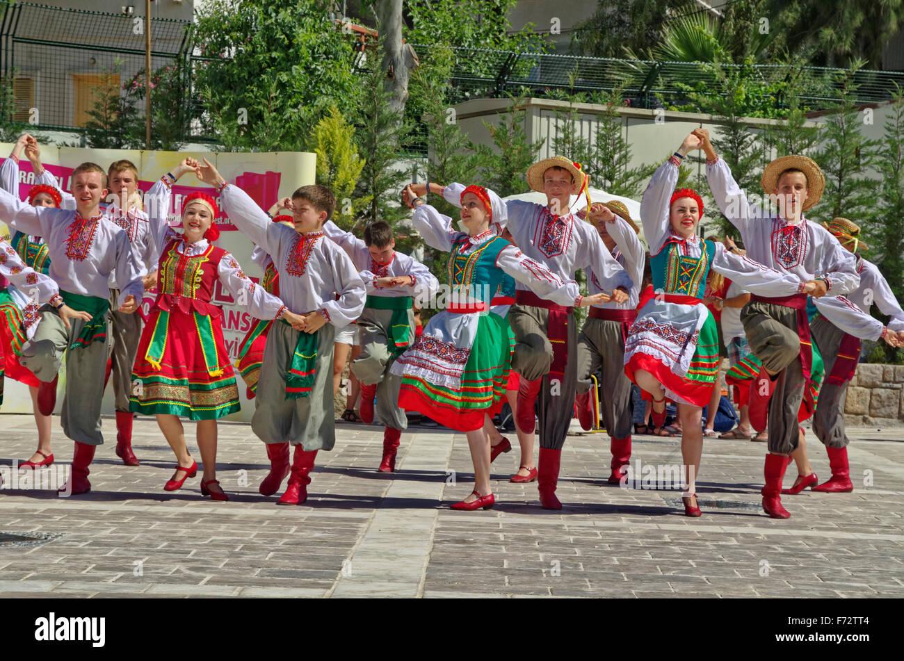 Traditional folk dance festival at Bodrum, Turkey. - Stock Image
