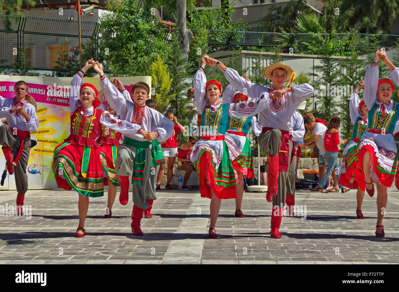 Traditional folk dance festival at Bodrum, Turkey. - Stock Image