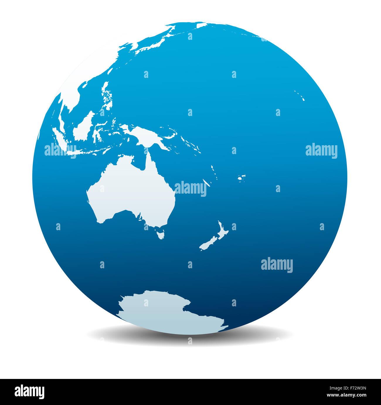 Australia and New Zealand, Global World - Stock Image