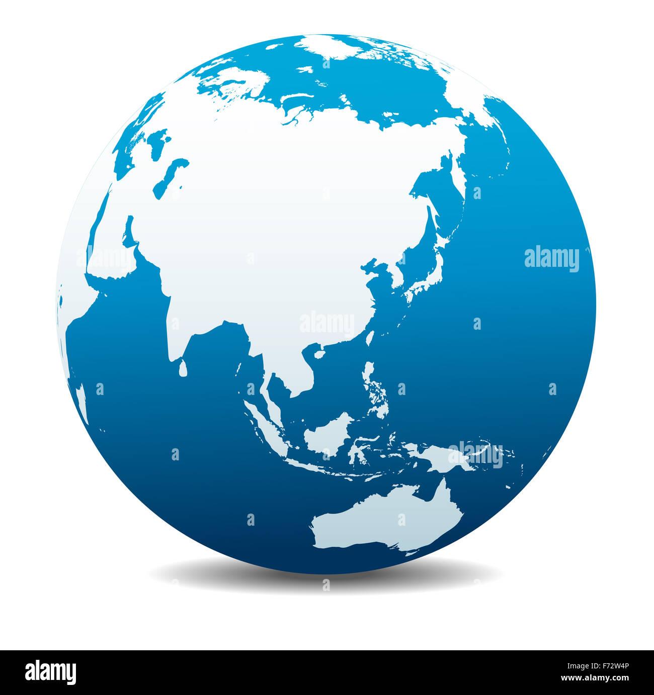 China, Japan, Malaysia, Thailand, Indonesia, Global World - Stock Image
