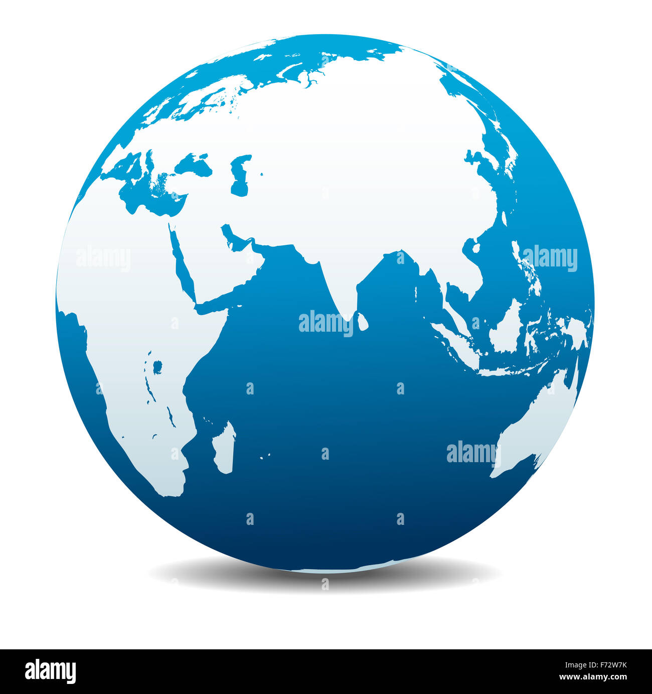 India, Africa, China, Indian Ocean, Global World Stock Photo