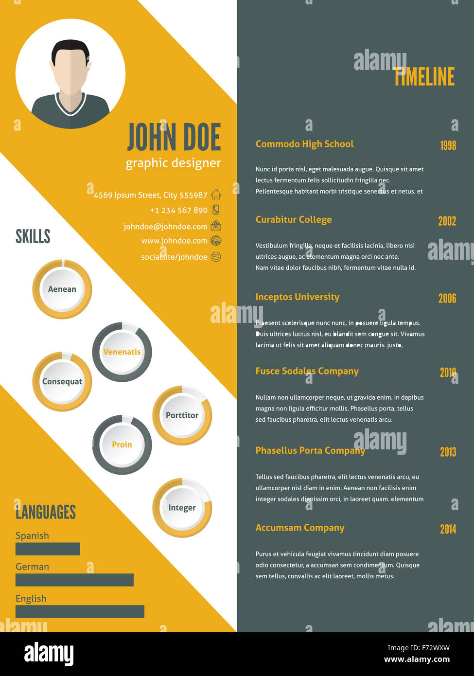 New Modern Resume Cv Curriculum Vitae Template Design With Photo