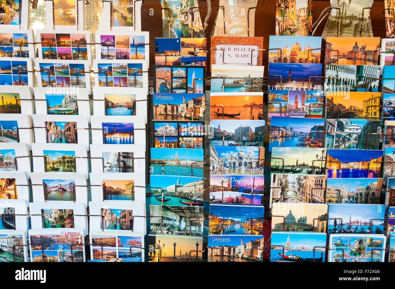 Postcards for sale in Venice, Italy - Stock Image