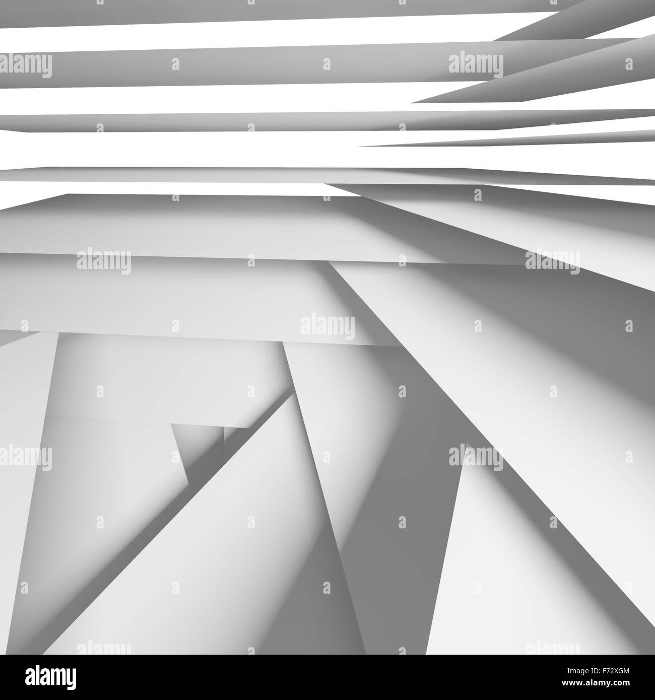 Abstract square digital background with white chaotic multi layered stripes, 3d illustration - Stock Image