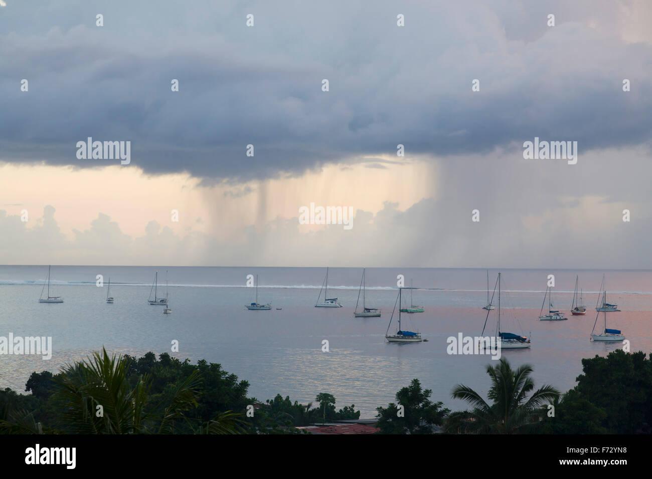 Rainstorm clouds on Tahiti - Stock Image