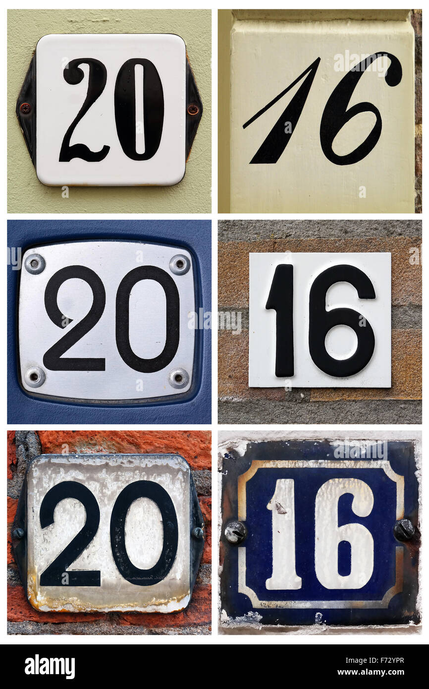 Composition of House Number signs makes two thousand sixteen - Stock Image