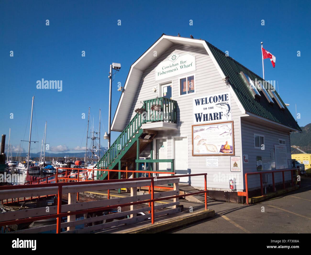 Fishermen's Wharf in Cowichan Bay, Vancouver Island, British Columbia, Canada. - Stock Image